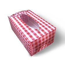 Tissue Box Cover Checkered Red Shirt Tissue Necktie 3D Lenticular #Tbc-03#