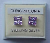New Ladies Sterling Silver CZ Square 7mm Studs 925 Hallmarked