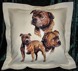 Hand Crafted Staffies dog cushion cover