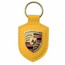 Gold Yellow Porsche Crest Keyring Key Chain Leather Red New in Plastic Packaging