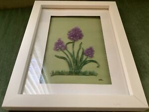 LOVELY HANDMADE WALL HANGING LACE TATTING FLOWERS FRAMED & MATTED ARTIST SIGNED