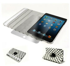 CASE COVER+SCREEN PROTECTOR SWIVEL 360 ROTATING PU WHITE DOT IPAD 2 2ND 3RD 4TH