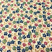 Flowers and Seed Pods Calico Fabric Blue Green Red Gold on Ivory 100% Cotton