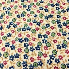 """Flowers and Seed Pods Calico Fabric Blue Green Red Gold on Ivory 44"""" wide"""