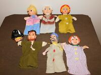 VINTAGE LOT TOY 6 HAND PUPPETS & 1 HEAD