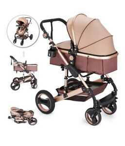 Luxury Baby Stroller/Carriage 2 In 1 Foldable Buggy Infant Travel New, Rose Gold