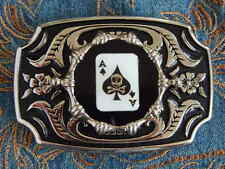 NEW  BELT BUCKLE ACE OF SPADES SKULL SILVER/BLACK METAL,WESTERN PLAYING CARDS