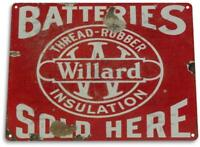 Willard Batteries Oil Gas Metal Parts Service Auto Shop Garage Metal Sign
