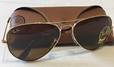 New Ray Ban  RB3025 001/33 58m Aviator Sunglasses Lens Brown B-15 Gold Frame