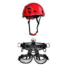 Heavy Duty Rock Climbing Harness Waist Seat Belt + Ventilated Safety Helmet