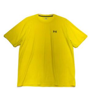 Under Armour Crew Neck Tee T-Shirt Mens Sz L Large Yellow Short Sleeve Heat Gear