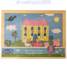 PEPPA PIG 12 Wood Puzzles Storage Box Tray Kid Educational Learn Jigsaw Puzzle