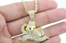 Mens Gold Plated Hip Hop Iced out CZ Money Bag Man Pendant with Rope Chain