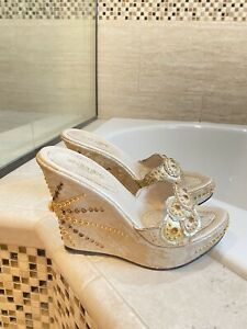 El Dantes Couture women's Embellished Wedges Size 39 Us 8/8.5