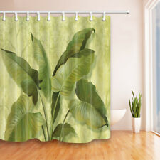 Watercolor Tropical Banana Leaves Bathroom Shower Curtain Fabric w/12 Hooks 71""
