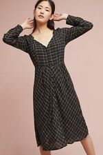 ANTHROPOLOGIE NWT Annie Plaid Midi Dress V-Neck Black Metallic Sz 8 Medium $148