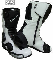 WHITE HAWK HIGH TECH MENS MOTORBIKE / MOTORCYCLE RACING LEATHER SHOES / BOOTS