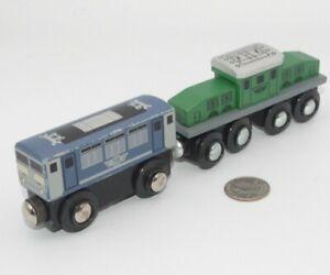 MAXIM Wooden Train Lot x2 Engine & Passenger Car - Works w Thomas Railway, BRIO