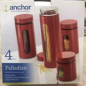 NIB Anchor Hocking Palladian Window Cylinder Jars Cherry Red Set 4 Glass Enamel