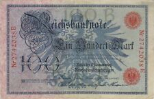 1908 100 MARK GERMANY REICHSBANKNOTE CURRENCY NOTE OLD GERMAN BANKNOTE BILL CASH