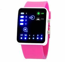 Pink Led Binary Digital Watch Mens Fashion Casual Sport Wrist Watches UK SELLER