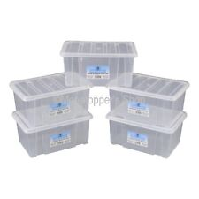 NEW Pack Of 5 British Made 8 Litre Clear Plastic Storage Boxes Box With Lids