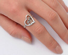 Silver Oxidized Heart & Mom Ring Sterling Silver 925 Best Deal Jewelry Size 7