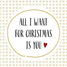 4 X Single Serviettes en papier/3Ply/DECOUPIS/CRAFT/Noël/All I Want Pour Noël