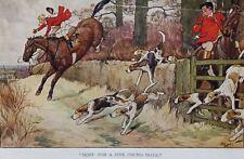 Cecil Aldin 1911 Comic Equestrian print. Handley Cross novel. Hunt with hounds.
