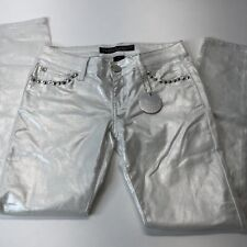 NEW Silent Disco CELEBRITY PINK Stud Metallic Jeans Shimmer  White Silver Skinny