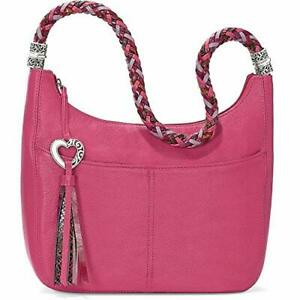 """Brighton """"BARBADOS"""" Punch Leather Ziptop Hobo (MSR$295) NWT/Cover"""