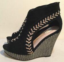 Size AU 6 / EUR 37 Women's Black Suede & Mix Color Artistic Wedge Sandals Shoes