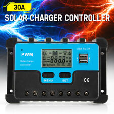 30A PWM Solar Charge Controller 30AMP Battery Regular 12/24V Auto USB LCD