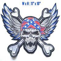 """LARGE 11"""" Skull Angel Punisher Harley Davidson MC Club Iron On Vest Jacket Patch"""