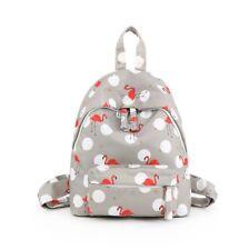 Woman grey  flamingo rucksack girls school bag outdoor backpack handbag purse