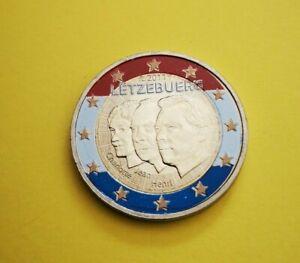 2 euro commémorative colorisée Luxembourg 2011 Grand Duc Jean