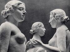 "LOOK FRAMED 1930s Blumenfeld Antique Photogravure ""MAILLOL'S Three Nymphs"" COA"
