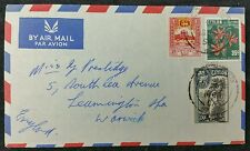 Ceylon 1956 Airmail Multistamp Cover to Leamington Spa, UK, Colombo PMK