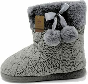 BRAND NEW Dunlop Cable Knit Booties, Hard Sole, Grey - UK Size 5