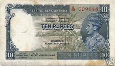 BRITISH INDIA RS 10 NOTE FIRST ISSUE OF KG VI PREFIX J DESHMUKH VF SCARCE