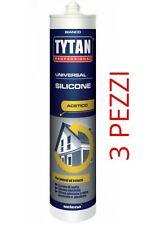 3 PZ SILICONE TRASPARENTE BIANCO ACETICO CARTUCCIA 280ML SIGILLANTE RESISTENTE