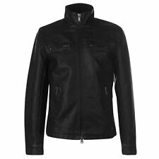 Firetrap Mens PU Jacket Leather Coat Top Zip Full
