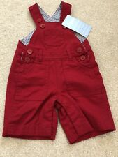 jojo maman bebe Baby 0-3 Months Red Short Dungarees New With Tag