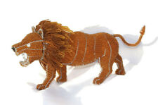 Beaded Lifelike Lion Figurine by JNGcape, Wire Sculpture African Art Decoration