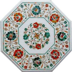 15 Inches Marble Coffee Table Top Inlay End table with Semi Precious Stones Work