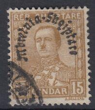 Albania: 1928 Regno dell' Albania OVERPRINT 15Q bistre SG252 BELLE USATO