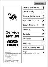 JCB 8052 8060 Mini Excavator Service Repair Workshop Manual CD