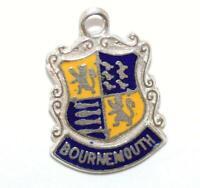 Enamel Shield Charm Vintage Bournemouth Shield Charm Bournemouth England Charm Sterling Silver Charm England Souvenir Coat of Arms
