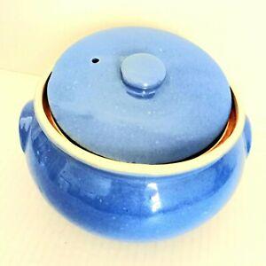 Vintage Uhl Pottery Blue Bean Pot Crock Bowl With Lid Primitive Stoneware