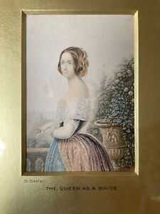 Antique Framed George Baxter Print 'The Queen as a Bride' c1856